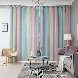 Star Curtains Stars Blackout Curtains for Kids Girls Bedroom Living Room C1C5 $18.50