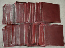 Leather Genuine Cowhide scraps Red shades variety 4x4 inches 100 pieces New $10.99