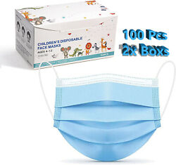 10 50 100 Pcs Kids Children Blue 3 Ply Disposable Face Mask Earloop Mouth Cover $14.98