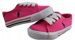 NEW Polo Ralph Lauren Toddler Girls Canvas Sneakers Baja Pink Slater Size 7 $29.99