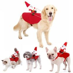 Pets Dog Small Large Christmas Santa Claus Riding Coat Costume Outfit Cosplay $9.99