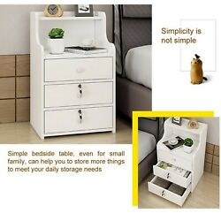 Simple End Table Bedroom Nightstand Coffee Table 3 Drawer With Lock Cabinet $55.59