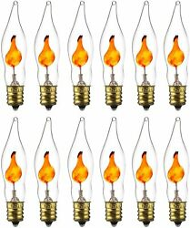 Flickering Light Bulbs Petite Chandelier Candle Bulb E12 3W 12 Pack $14.98
