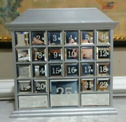 Advent Calendar First Frost Mirrored Silver Christmas 13.5quot; Tall $49.99