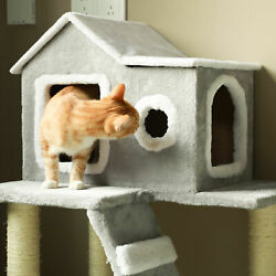 Cat Tree Condo Tower w Scratching Posts Kitty Trees House Bed Furniture $52.32