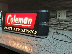COLEMAN PARTS AND SERVICE ART DECO LIGHTED SIGN COUNTER TOP DISPLAY . RARE $1195.00