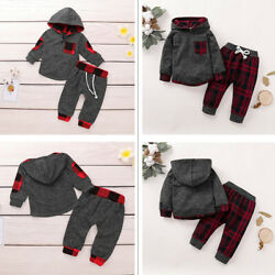 Newborn Baby Boy Hooded Tops Pants Outfits Clothes Tracksuit Set Striped Cotton $13.64
