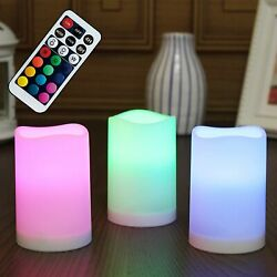 Flameless Plastic Pillar Candle Decorative Color Changing LED Flickering Candles $19.45