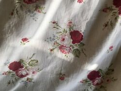 Vintage French Shabby Cottage Roses Cotton Fabric Red Pink Green $39.00