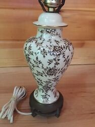 Ginger Jay Vintage Lamp Ivory Brown With Gold Brass Footed Base Finial $49.00