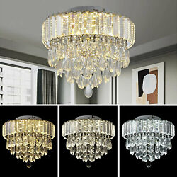 Modern Chandelier LED Crystal Ceiling Dimmable Pendant Lamp Round Light Fixture $91.00