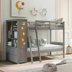 Twin Over Twin Bunk Bed with Bookcase Solid Wood bunk Bed Frame Bedroom for Kids $679.00
