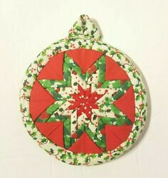 Hand Quilted Folded Fabric Star Christmas Disc Ornament Green Red White Holly $6.49
