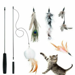 Pet Cat Toys Feather Wand Rod Pet Kitty Bell Play Funny Teaser Interactive Toy $9.99