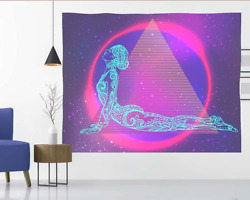 Psychedelic Aesthetic Tapestry Wall Hanging for Bedroom Trippy Pink Neon Backdro $6.69