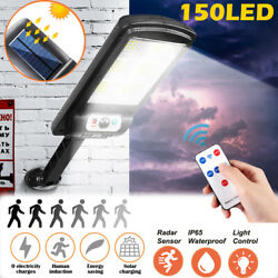 150 LED Outdoor Commercial Solar Wall Light Waterproof Dusk to Dawn Street Lamp
