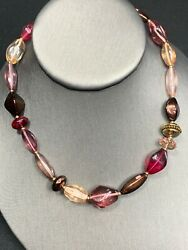 Signed Glass And Crystal Single Strand Necklace Beaded Shades If Pink $19.87