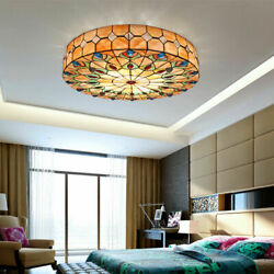 Tiffany Flush Mount Lighting Stained Glass Ceiling Light Peacock Tail Chandelier $139.00