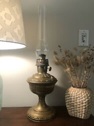 Antique Aladdin brass oil Mantle Lamp Model 7 w Chimney Chicago USA Made 24.5quot; $145.99