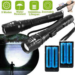 2PACK 900000LM Zoom Tactical LED Flashlight RechargeableBatteryCharger NEW $18.98