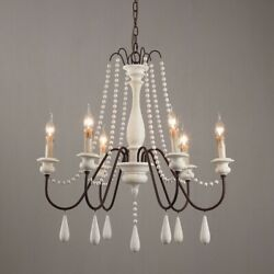 French Country Candle Style 6 Light Wood Bead Swag 1 Tier Wooden Chandelier Whit $219.99