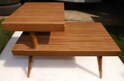 Mid Century Modern Side Table Formica End Table Vintage 1950s Atomic Age $94.99