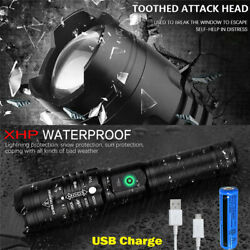 High Powered Tactical LED Flashlight Super Bright XHP90 USB Rechargeable Torch $13.30