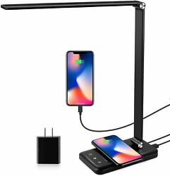 LED Table Desk Lamp Light with QI Wireless Charger USB Charging Dimmable Timer $35.99