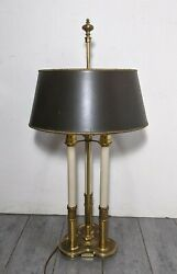 Vintage STIFFEL French Bouillotte 3 Light Candlestick Brass Table Lamp $225.00