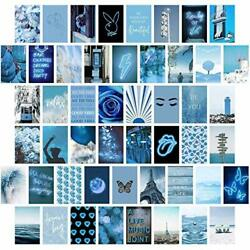 Blue Wall Collage Kit Aesthetic Pictures Bedroom Decor for Teen Girls Wall $19.12