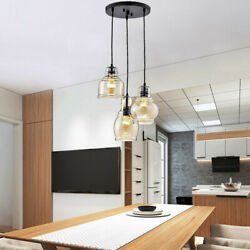 3 Head Pendant Chandelier Glass Shade Kitchen Island Dining Room Ceiling Lights $84.62