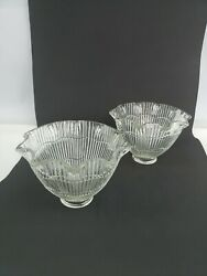 Lot 2 Bell Shaped Ruffled Ribbed Glass Lamp Fixture Scone Light Ceiling Shades $15.99