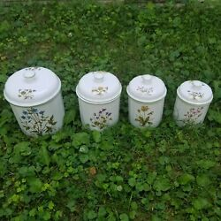 R B Bernarda Portugal Williams Sonoma Floral Set of 4 Kitchen Canisters W Lids $74.99