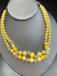 Vintage 1950s beaded Shades Of Yellow Imitation Pearl Two Strand Necklace $24.20