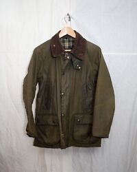 Barbour Bedale Waxed Olive Jacket Mens 38 vintage with original pin and hood. $167.00