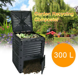Garden Compost Bins 300 L 80 Gallon Large Outdoor Compost Container Black $68.02