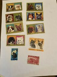 Postage stamps used cats And Dog 10 stamps $1.73