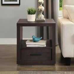 Espresso End Table with Drawer Contemporary Table Living Room Office Bedroom NEW $87.00