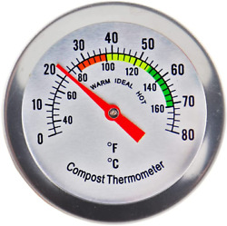 Compost Thermometer Stainless Steel Dial Ideal Composting Soil Thermometer ... $10.45