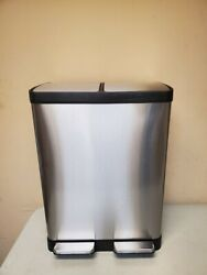 iTouchless SoftStep 16 Gallon Step Trash Can amp; Recycle Bin USED 2 Dents READ