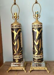 Pair Vintage Lamps Italian Black Gold Hand Painted Glass on Brass Footed Tall $499.00