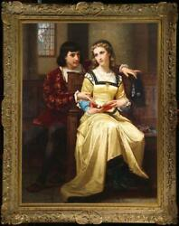 Hand painted Old Master Art Antique Oil Painting girl man on canvas 24quot;x36quot; $750.00