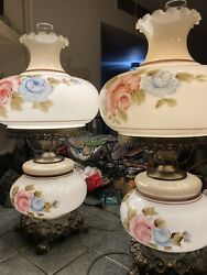 2 Antique Vintage lamps with beautiful flowers 28 inches tall $500.00