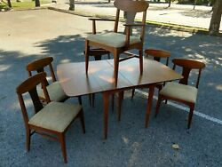 Stanley Furniture Mid Century Modern Dining Room Set Table 6 chairs walnut $600.00