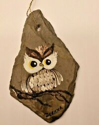 Christmas in VT OWL Signed Hand Painted FOLK ART Antique Roof Slate Ornament $15.50