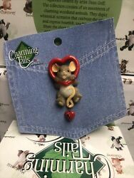 Charming Tails Lapel Pin Enesco 4017678 Mouse Hanging In Heart $14.85