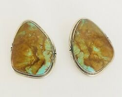 Sterling silver turquoise vintage large turquoise pierced earrings Southwest $124.99