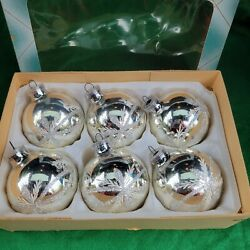 Vintage Glass Silver Glitter Set of 6 Christmas Ornaments $35.00