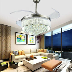 42quot; Modern Crystal Remote Control Invisible Ceiling Fan Lamp Chandelier Lighting $219.47
