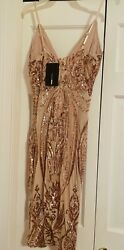Fashionnova Ashe sequin Gold Dress New size Large with Tags $28.60